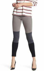 (NWT) Hue Women's Color-blocked Denim Leggings Steel Gray Size S