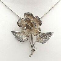 Vintage 800 Silver Filigree 3D Rose Flower Brooch Pin Pendant