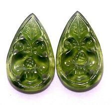 14.99 Cts Natural Sarpantine Hand made carving Pair 23x13 mm Loose Gemstones