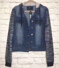 XL/1X/2X/3X New Cotton Denim French Terry Jean Jacket Hoodie Blue Coat Vest