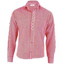 German Wear, Trachtenhemd mit Edelweiß-Stickerei Rot/karo 100% Baumwolle