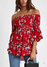 Red Floral Crepe Chiffon Bardot Frill Sleeve Blouse Top | River Island | Size 10