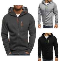 Mens Solid Full Zip Up Hoodie Classic Hooded Zipper Sweatshirt Jacket Coat Tops