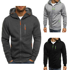 Men's Solid Full Zip Up Hoodie Classic Hooded Zipper Sweatshirt Jacket Coat Tops