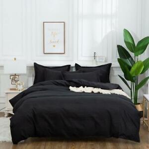 2/3Pcs Duvet Cover Pillowcase Stripe Geometric Black Red Gray Simple Bedding Set