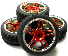 A250093 1/10 Scale On Road Soft Road Tread Car Wheels and Tyre Star Red 4