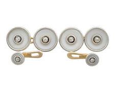 1920's 0.24 ct Diamond 18 Carat Yellow Gold Hardstone Cufflink and Stud Set