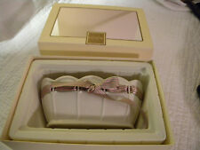 Lenox Small Porcelain Oval Bowl Pierced w/ Green & Pink Ribbon/Original Box