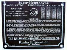BRUNKSWICK 3NW8 / RCA RADIOLA AR-764 CONSOLE :   SUPER-HETERODYNE MODEL AR-764