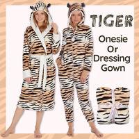 Ladies Womens Tiger Hood Dressing Gown Bath Robe 1Onesie Jumpsuit Playsuit Gift