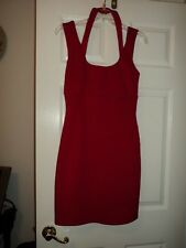 GUESS Red Bodycon Dress Scuba Halter Cocktail 8 PROM Stretch Sleeveless LN Hot!!