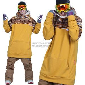 December long tall hoodie ski snowboard-skull mustard
