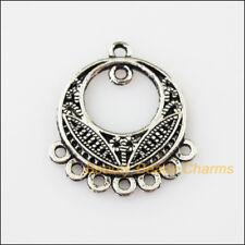 8 New Round Flower 1-1-7 Connectors Tibetan Silver Tone Charms Pendants 22.5x26m