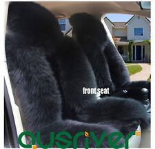 Premium Quality Black 4Pcs Australian Sheep Skin Car Long Wool Seat Cover Set