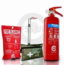 2KG POWDER ABC FIRE EXTINGUISHER HOME OFFICE CAR KITCHEN+BRACKET+BLANKET+1ST AID