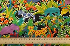 100% cotton children childs room FABRIC zebra elephant jungle per metre & sample
