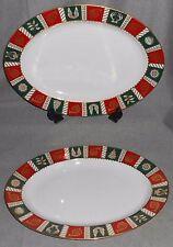 Set (2) Vintage Neiman Marcus Large Oval Platters Holiday Christmas Pattern