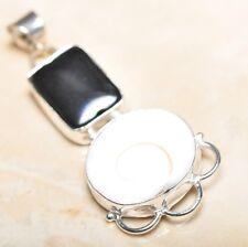 "Handmade Shiva Eye Shell Gemstone Pure 925 Sterling Silver Pendant 2.25"" #P14583"