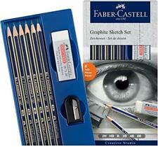 Faber Castell Graphite Sketch Pencil Set of 6 Pencils, With Sharpener&Eraser
