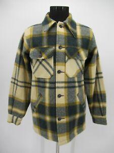 P4777 VTG Men's Woolrich 100% Wool Plaid Shirt Jacket Size M