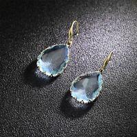 Boucles d'oreilles Doré Crochet Goutte Verre Facetté Bleu Clair Lac Mariage DD13