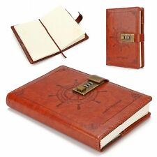B6 Rudder Leather Journal Blank Diary Note Book+Password Code Lock 112 Sheets