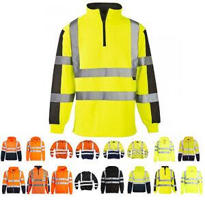 Hi Viz Vis High Visibility Jacket Hoodie Work Zip Hooded SweatShirt Fleece SMLXL