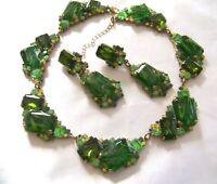 Designer CZECH Art Glass Green Gold Fluss Rhinestone Glass Necklace Earring Set