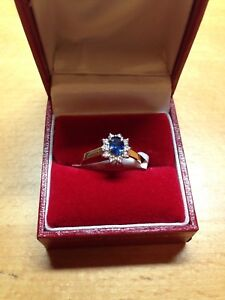 NEW Sapphire & Diamond Cluster Ring in size 'N' RRP £ 950