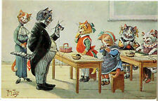 A THIELE ARTIST OLD POSTCARD ANTHROPOMORPHIC CATS TEACHER INSPECTING KNITTING