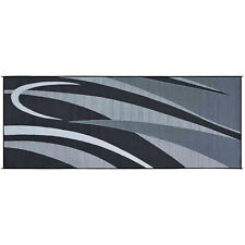 Black Silver 8x20ft Beach Mat In Out Door Reversible Area Rug RV Campsite Patio
