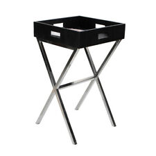 Black Croco Leather Newspaper Stand Knockdown Side Table