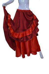 Women Maroon Reversible Skirt BellyDance Half Circle Skirt Black Frill Skirt S71