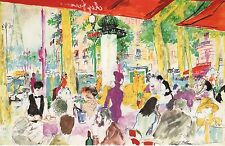 "2 PAGES LEROY NEIMAN BOOK PLATE PRINTS PARIS ""CHEZ FRANCIS"" FROM SKETCHBOOK"