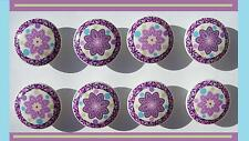 8 DANDY PURPLE PLUM  FLOWER KIDS GIRLS  DRESSER DRAWER  KNOBS  MADE AS ORDERED