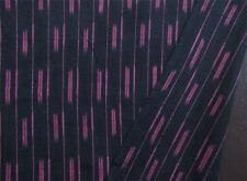 Black & Dark Pink Cotton Ikat Hand-Woven & Hand-Dyed India Homespun Fabric