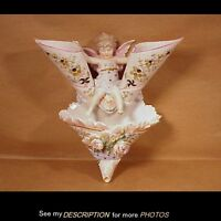 Great!! Antique Limoges Porcelain Flower Wall Pocket with Winged Cupid
