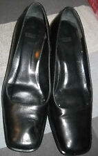 COACH NOREEN 8B SHOES~BLACK LEATHER PUMP HEELS~MADE IN ITALY~SQUARE HEELS