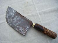 ANCIENNE FEUILLE DE BOUCHER -acier bois laiton -métier - BE