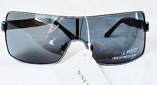 NWT NINE WEST 100% UV Protection Black White Retro Shield SUNGLASSES w/ Case