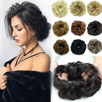 Ladies Natural Messy Hair Scrunchies Updo Bun Curly Hair Extension US Fast ship