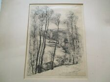 LARGE ETCHING BY MILDRED BRYANT BROOKS LANDSCAPE RARE SIGNED ANTIQUE AMERICAN