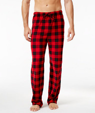 $50 CLUB ROOM Men's PAJAMA PANTS RED BLACK CHECKERED FLEECE LOUNGE SLEEPWEAR M