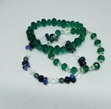 Blue and Green Beaded Bracelets Z005 3 Artesian Estate Stretch Crystal Glass