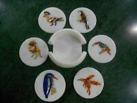 4.5 Inches Marble Coffee Coaster Inlay Wine Coaster with Birds Design Home Decor