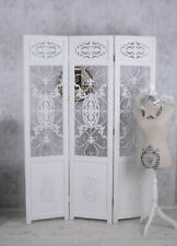 Divider White Paravent Country Style Privacy Room Divider Wood with Metal New