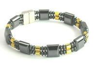 Men's Women's Double Magnetic Gold & Black Hematite Stone Bracelet free shipping