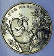 China - 1995 Plata 1 oz Panda 10 Yuan moneda grande Ramita