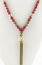 NWT Lucky Brand Gold-Tone Ruby Red Jade Beaded Tassel Necklace