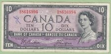 1954 Bank of Canada 10 Dollar Note Devil's Face - Beattie/Coyne- G/D8616994- VF